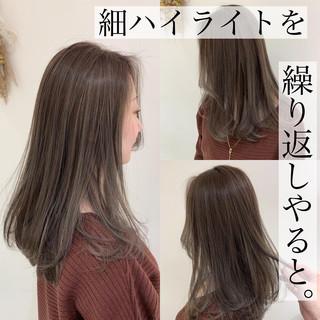 ハイライト グレージュ 大人ハイライト 極細ハイライト ヘアスタイルや髪型の写真・画像