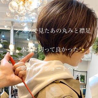 丸みショート ハンサムショート ショートボブ ナチュラル ヘアスタイルや髪型の写真・画像