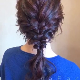編みおろし 簡単ヘアアレンジ ヘアアレンジ エレガント ヘアスタイルや髪型の写真・画像