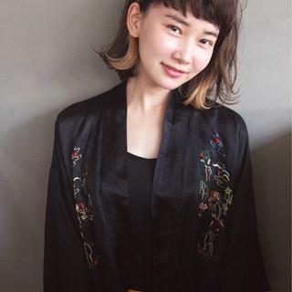 大人女子 大人かわいい ハイライト ボブ ヘアスタイルや髪型の写真・画像