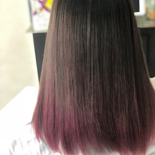エレガント 上品 ピンク セミロング ヘアスタイルや髪型の写真・画像