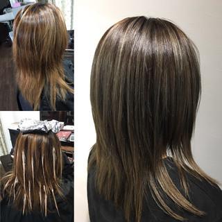 ナチュラル 縮毛矯正 3Dカラー ロング ヘアスタイルや髪型の写真・画像