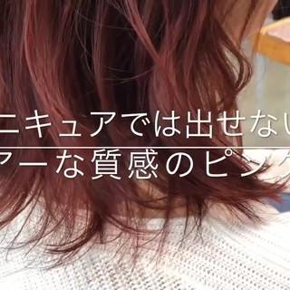 フェミニン ミディアム ピンクブラウン シアー ヘアスタイルや髪型の写真・画像 ヘアスタイルや髪型の写真・画像