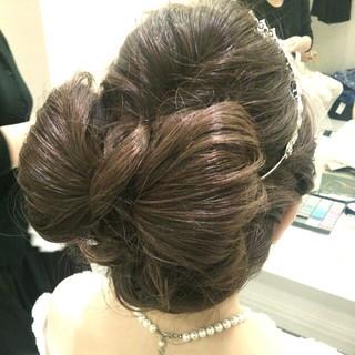 ヘアアレンジ ブライダル セミロング 結婚式 ヘアスタイルや髪型の写真・画像