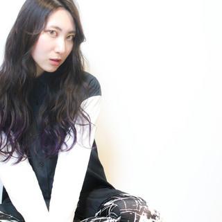 グラデーションカラー モード ロング 暗髪 ヘアスタイルや髪型の写真・画像