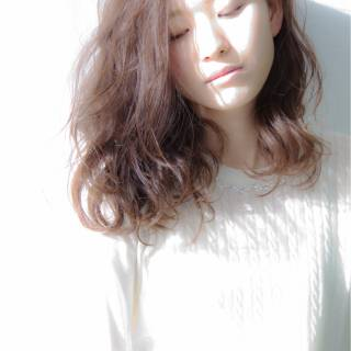 ゆるふわ 愛され 大人かわいい セミロング ヘアスタイルや髪型の写真・画像