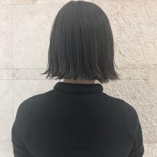 簡単スタイリング 切りっぱなし 黒髪 ボブ ヘアスタイルや髪型の写真・画像