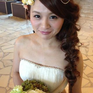 結婚式 モテ髪 ヘアアレンジ ブライダル ヘアスタイルや髪型の写真・画像 ヘアスタイルや髪型の写真・画像