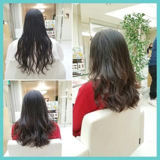 黒髪 デジタルパーマ ミディアム コンサバ ヘアスタイルや髪型の写真・画像