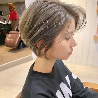 デート ショート ナチュラル ヘアアレンジ ヘアスタイルや髪型の写真・画像