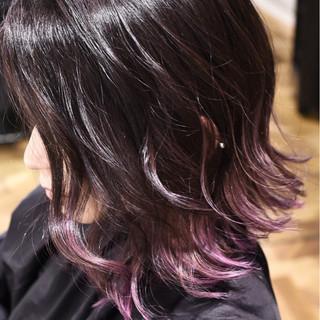ガーリー バレイヤージュ グラデーションカラー ボブ ヘアスタイルや髪型の写真・画像
