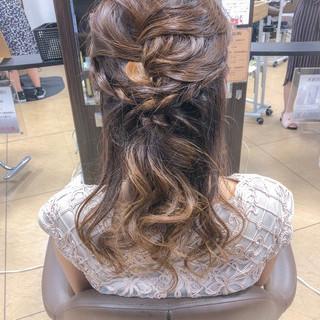 結婚式 ヘアアレンジ ハーフアップ セミロング ヘアスタイルや髪型の写真・画像