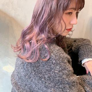 韓国ヘア 透明感カラー ラベンダーピンク ショートヘア ヘアスタイルや髪型の写真・画像