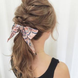 ルーズ アップスタイル 夏 編み込み ヘアスタイルや髪型の写真・画像 ヘアスタイルや髪型の写真・画像