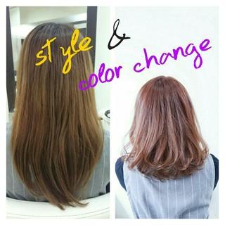 透明感 ピンクアッシュ アッシュ ハイトーン ヘアスタイルや髪型の写真・画像