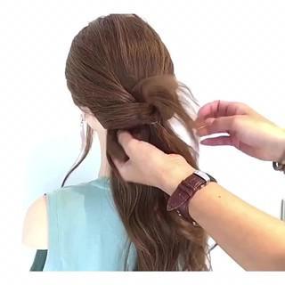 ロング 涼しげ 女子会 ヘアアレンジ ヘアスタイルや髪型の写真・画像