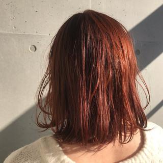 モテボブ ミディアム ゆるナチュラル オレンジカラー ヘアスタイルや髪型の写真・画像
