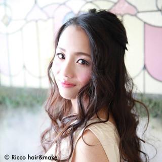 大人かわいい 暗髪 ロング ヘアアレンジ ヘアスタイルや髪型の写真・画像