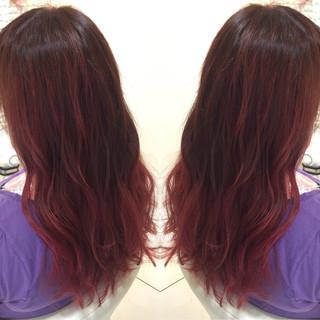 モード ロング レッド ピンク ヘアスタイルや髪型の写真・画像