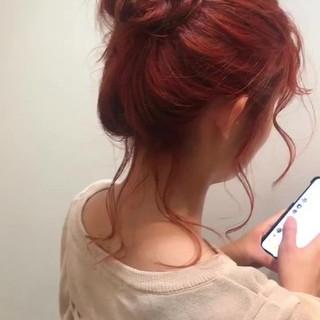 ガーリー 外国人風カラー お団子アレンジ オレンジ ヘアスタイルや髪型の写真・画像