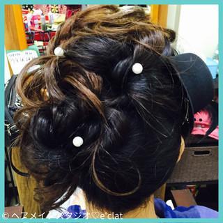 セミロング ヘアアレンジ アップスタイル 二次会 ヘアスタイルや髪型の写真・画像