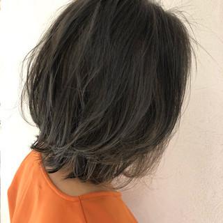 バレイヤージュ コントラストハイライト ミディアム ハイライト ヘアスタイルや髪型の写真・画像