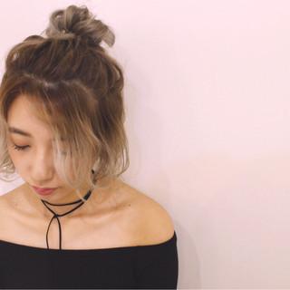 ハーフアップ 簡単ヘアアレンジ 外国人風 ショート ヘアスタイルや髪型の写真・画像