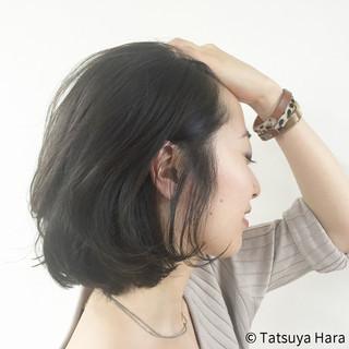 暗髪 ナチュラル ボブ 色気 ヘアスタイルや髪型の写真・画像