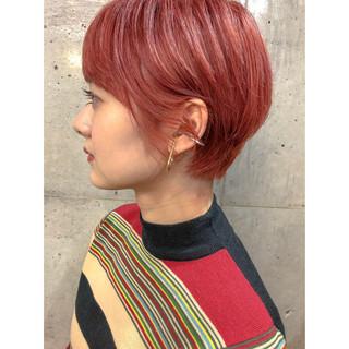 ハンサムショート ベリーショート ブリーチ アプリコットオレンジ ヘアスタイルや髪型の写真・画像