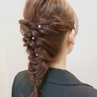 セミロング 結婚式 アップスタイル デート ヘアスタイルや髪型の写真・画像