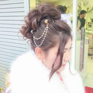 アップスタイル ヘアアレンジ フェミニン ロング ヘアスタイルや髪型の写真・画像 ヘアスタイルや髪型の写真・画像
