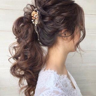 ヘアアレンジ 結婚式ヘアアレンジ ゆるナチュラル 結婚式髪型 ヘアスタイルや髪型の写真・画像