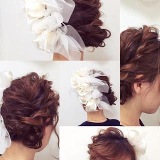 モテ髪 結婚式 フェミニン ミディアム ヘアスタイルや髪型の写真・画像 ヘアスタイルや髪型の写真・画像