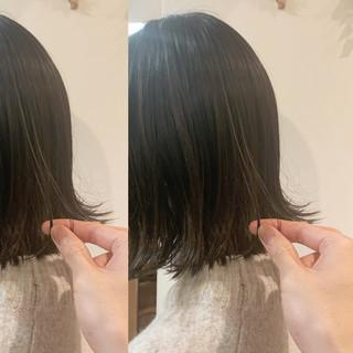 大人女子 切りっぱなしボブ ヘアアレンジ ナチュラル ヘアスタイルや髪型の写真・画像