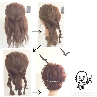 編み込み くるりんぱ ヘアアレンジ セミロング ヘアスタイルや髪型の写真・画像 ヘアスタイルや髪型の写真・画像