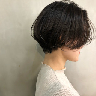 ショートボブ ショート マッシュ 透明感 ヘアスタイルや髪型の写真・画像