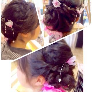 袴 編み込み 謝恩会 ヘアアレンジ ヘアスタイルや髪型の写真・画像