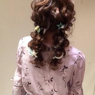編み込み 大人かわいい ガーリー パーティ ヘアスタイルや髪型の写真・画像