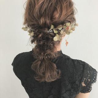 ウェーブ 大人かわいい 結婚式 ナチュラル ヘアスタイルや髪型の写真・画像