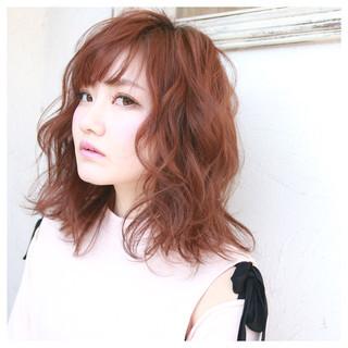 ミディアム 春 ガーリー 小顔 ヘアスタイルや髪型の写真・画像