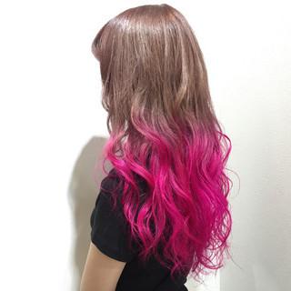 ロング 大人かわいい 渋谷系 グラデーションカラー ヘアスタイルや髪型の写真・画像