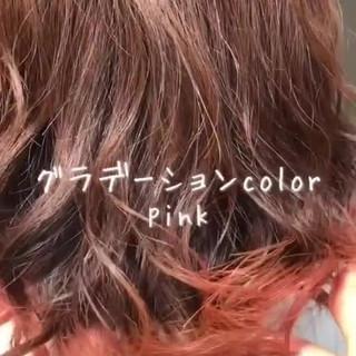 グラデーションカラー インナーカラー ミディアム フェミニン ヘアスタイルや髪型の写真・画像 ヘアスタイルや髪型の写真・画像
