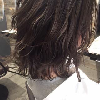ハイライト ナチュラル 透明感 ロブ ヘアスタイルや髪型の写真・画像
