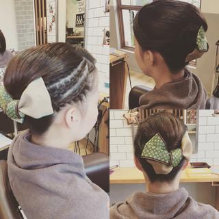 モード お祭り 編み込み 夜会巻 ヘアスタイルや髪型の写真・画像