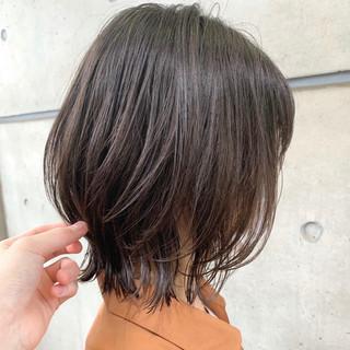 透明感カラー パーマ ボブ ナチュラル ヘアスタイルや髪型の写真・画像
