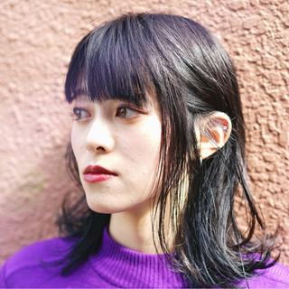 アッシュ 秋 ダブルカラー ミディアム ヘアスタイルや髪型の写真・画像