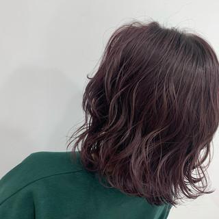 ボブ フェミニン ブリーチ ピンクバイオレット ヘアスタイルや髪型の写真・画像