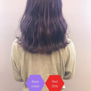 フェミニン パープル アディクシーカラー ミディアム ヘアスタイルや髪型の写真・画像