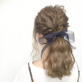 モテ髪 編み込み 波ウェーブ セミロング ヘアスタイルや髪型の写真・画像
