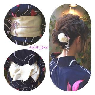 花火大会 和装 簡単ヘアアレンジ 夏 ヘアスタイルや髪型の写真・画像 ヘアスタイルや髪型の写真・画像